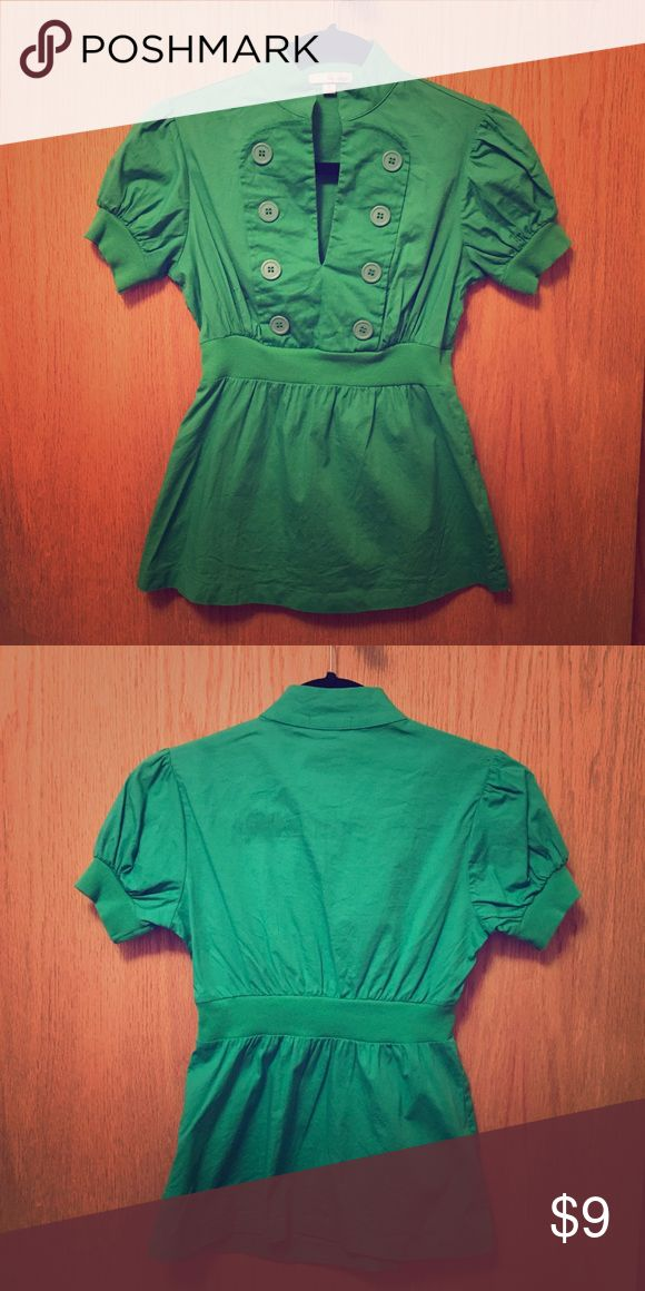 Green Short Sleeve Top Button details, peplum silhouette, 97% cotton and 3% spandex Tops