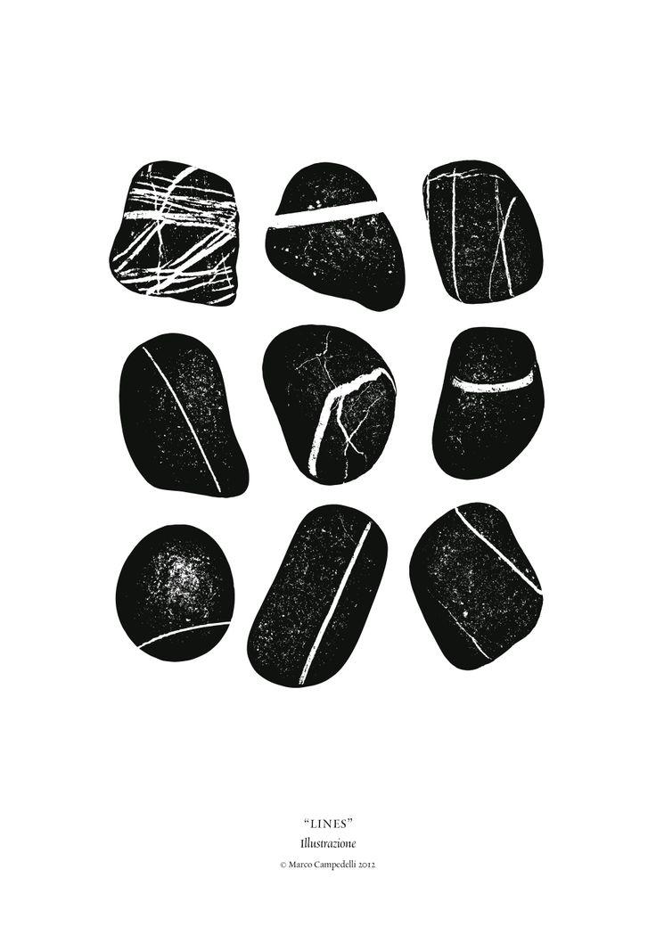 #marcocampedelli #illustration #stones #lines
