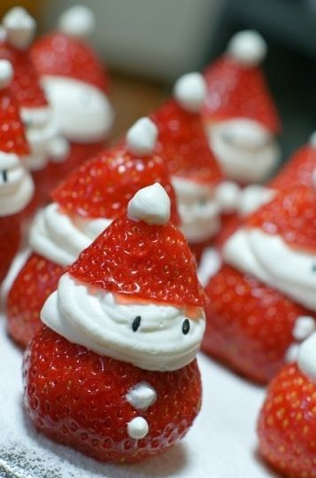 Strawberry Santas! Great activity for the kids...see if they can *wait* to eat them!