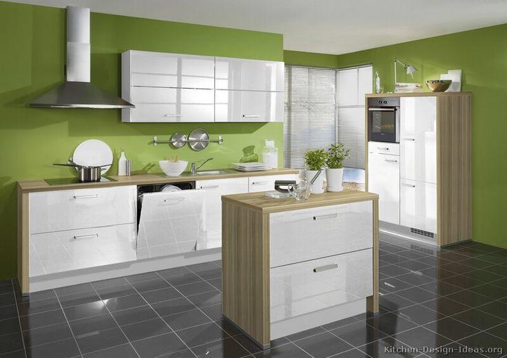 White Kitchen Green Walls kitchen idea of the day: modern white kitchen with green walls and