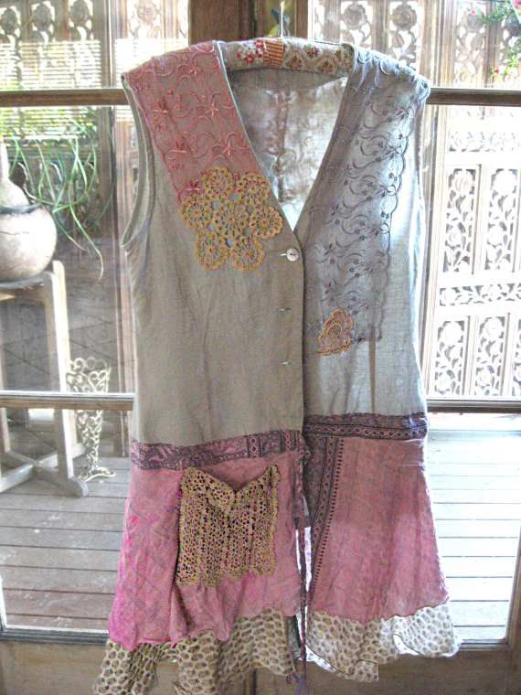 Grey+Linen+and+Pink+Silk+Jacket+Dress+Recycled+by+AllThingsPretty,+$110.00