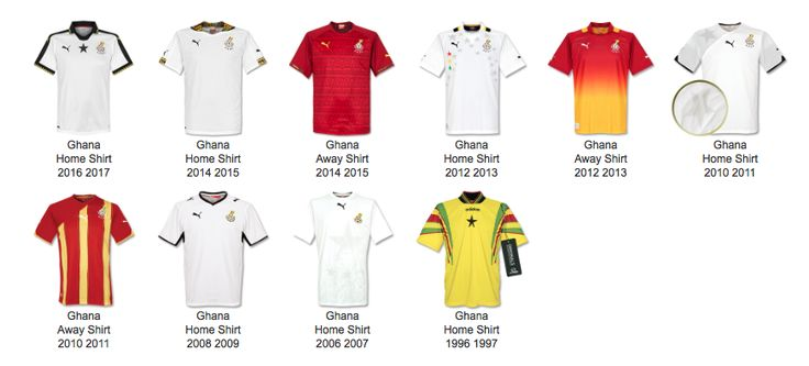 Ghana Football Shirt Archive - A Visual History #historia #equipaciones