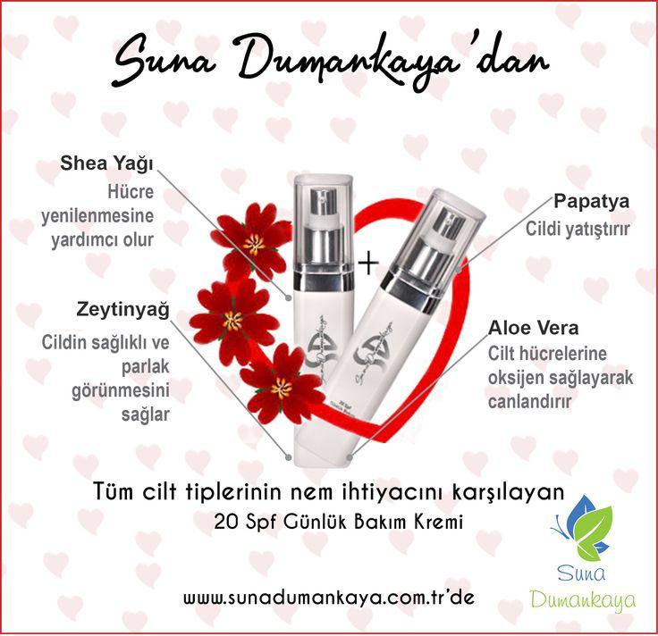 Siz+sevdiğiniz=doğal olarak güzelsiniz Bir adet alana birde bizden hediye http://www.sunadumankaya.com.tr/20-Spf-Gunluk-Bakim-Kremi,PR-65.html