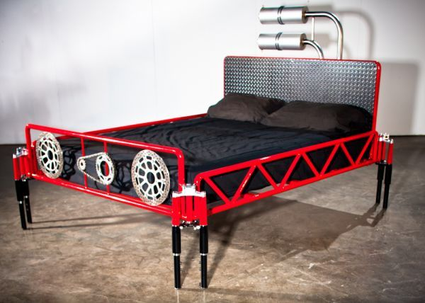 Motorcycle-themed custom bed 'Duc 996' built from Ducati parts