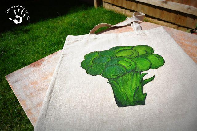 Ręcznie malowana torba z kalafiorem!  #handmade #bag #handpainted #green #eco