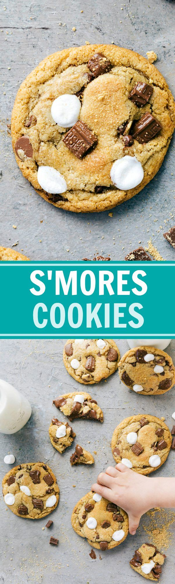 S'mores Cookies are thick, chewy, soft, and packed with graham cracker crumbs, miniature marshmallows, and chocolate! These cookies are simple to make!