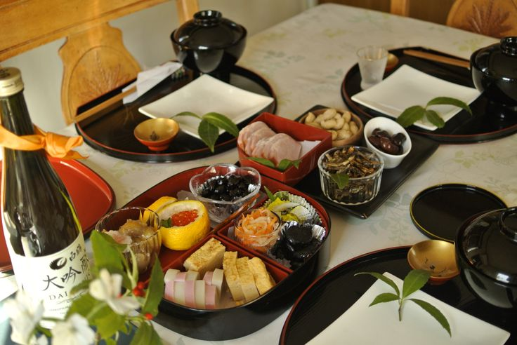 Preparation of meals for the New Year morning. It's Japanese style.