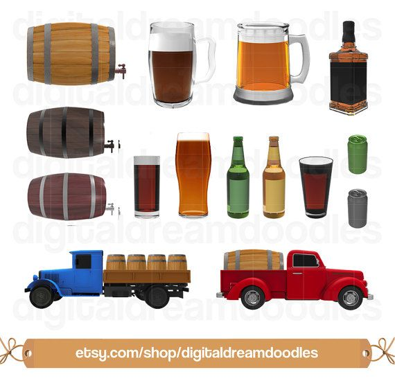 Beer Clipart, Beer Clip Art, Keg Barrel Image, Brewery Truck Graphic, Alcohol Beer Can PNG, Ale Glass Pint Scrapbook, Booze Digital Download