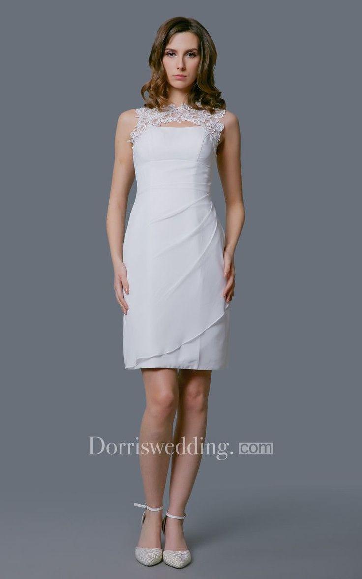 Fabulous High-neck Sleeveless Short Wedding Dress #weddingdress #weddinggown #bridaldress #bridalgown #weddingdresses