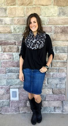6 Ways to Style a Denim Skirt for Fall, leopard scarf outfit idea, denim skirt and black blouse outfit idea, black wedge boots outfit