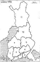 Provinces of Finland 1945: 1: Turku and Pori, 2: Uusimaa, 3: Häme, 4: Vaasa, 5: Kymi, 6: Mikkeli, 8: Kuopio, 10: Oulu, 11: Lapland, 12: Åland