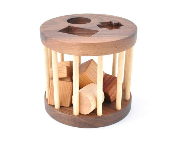 Wooden Shape Sorter Toy - Montessori Inspired Educational Toy for a Baby or a Toddler - Eco-Friendly Sorting Game - Organic Wood Toy. $48.00, via Etsy.