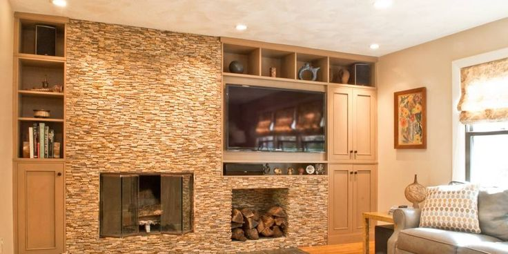 offset fireplace and tv  Living Room Remodel in 2019
