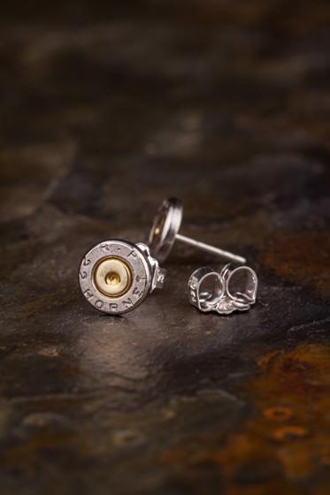 22 Hornet Nickel Bullet Head Stud Earrings
