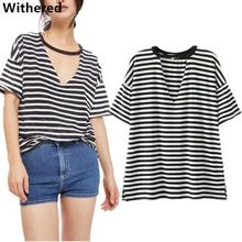 Withered women t-shirt european and american style fashion striped hollow out v-neck sexy batwing sleeve t-shirt women tops new //FREE Shipping Worldwide //