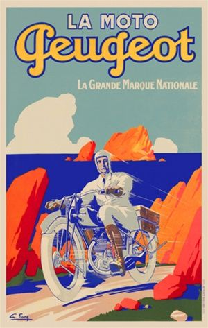 Peugeot by Favre 1928 France - Beautiful Vintage Poster Reproductions. This vertical French transportation poster features a man riding a motorcycle up a hill over looking the ocean with orange rocks. Giclee Advertising Print. Classic Posters