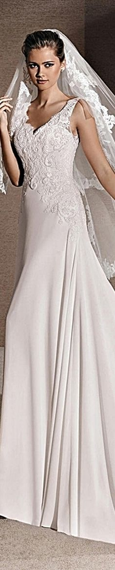 La Sposa Bridal 2016 Regina Flared dress in gauze. Bodice with V-neck at the front and back and straps.