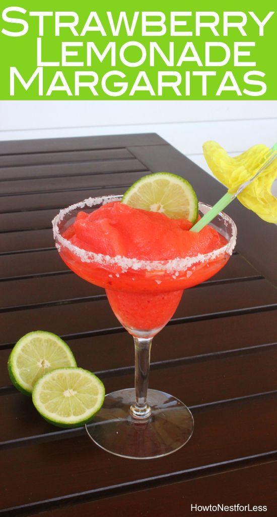 Yummy strawberry lemonade margaritas! And so easy to make!