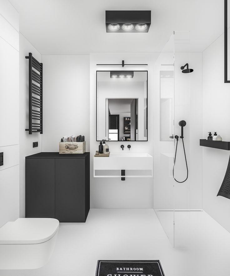 G3Mstudio. B&W bathroom. Wielicka Garden Apartment in Krakow