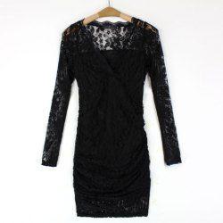 $9.72 Long Sleeves V-Neck Crossed Stitching Wavy Edge Beam Waist Packet Buttock Stylish Women's Dress