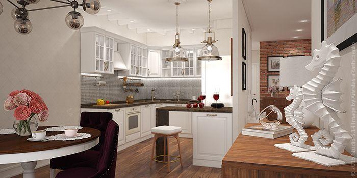 Трехкомнатная квартира в стиле фьюжн в г. Красногорск. Оформление гостиной, совмещенной с кухней.