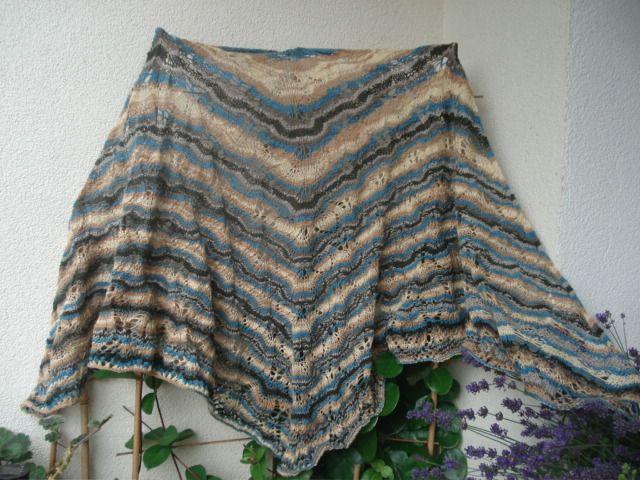 duża i okrywowa chusta na drutach melanż Gail wełna i akryl