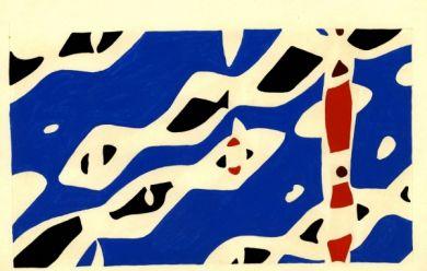 Pénélope 12 - Jacques Villeglé & Raymond Hains. Pénélope, gros plan, séquence Ravenne, 1953. Peinture glycérophtalique sur bristol, 23 x 32,6 cm Courtesy Galerie GP & N Vallois, Paris.