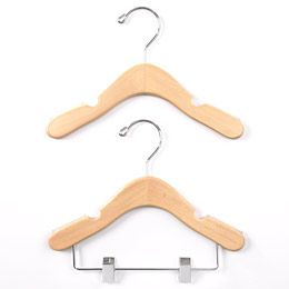 Soft plastic inserts on the arms of these beautifully made hardwood hangers keep baby and infant garments from slipping off.  Notches near the end of the arms to hold hanging straps securely.  Perfectly sized to hold clothes from infant to size 8, they are available in a set of five or a set of four with clips.  They are an elegant and affordable option to protect and pamper your finest children's clothing.