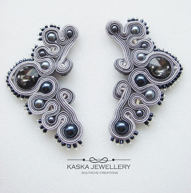 Soutache earrings with Swarovski cristal