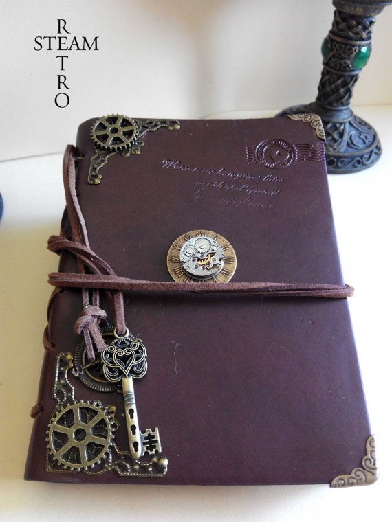 Book Wedding Steampunk Vintage Guest Journal Styled Leather OkPTwiuXZ