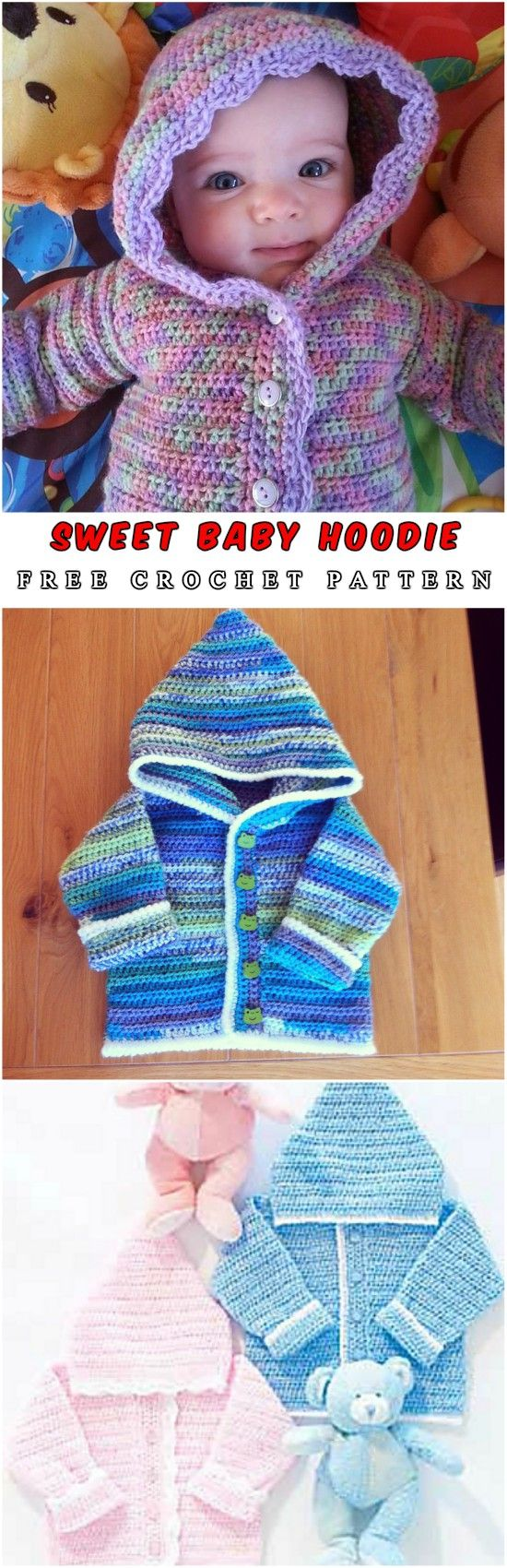 Free Crochet Pattern: Baby Hoodie - Hello, dear crochet masters. I love the hoodie projects because of the functionalities. Babies are covered by warm clothes. Look at these awesome. #crochet #freepattern