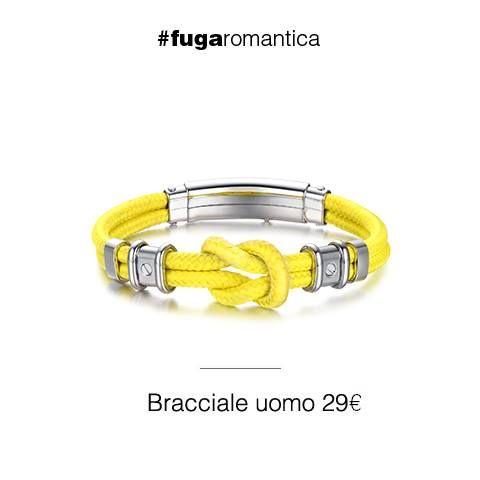 Bracciale in acciaio con cordino giallo Luca Barra Gioielli. #bracciale #uomo #jewels #musthave #tendenzemodauomo