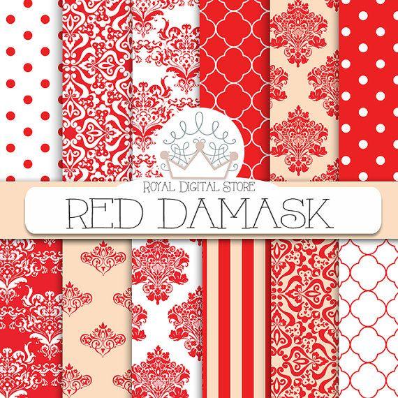 "Red Damask Digital Paper: "" Red Damask Digital Paper"" with red damask background, red damask patterns, red damask textures #red #damask #digitalpaper #scrapbookpaper #white"