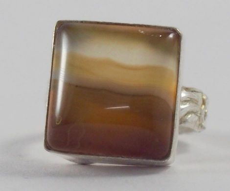 Handmade Silver Plated Ring with Botswana Agate Stone