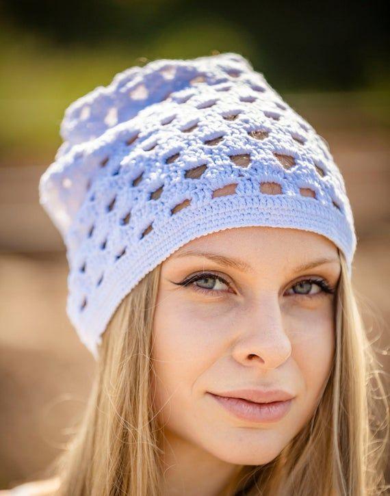 hippie beanie white knit lace beanie Boho Style festival look,knit summer hat,woman white hat Summer Beanie Hat MOLI MARKS