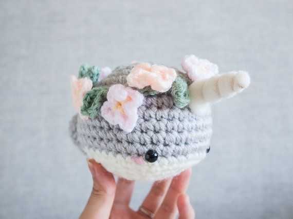 Narwhal plush toy - Amigurumi Crochet - Kawaii Plush - Narwhal - Cute Gift - Crochet Whale - Flower Crown