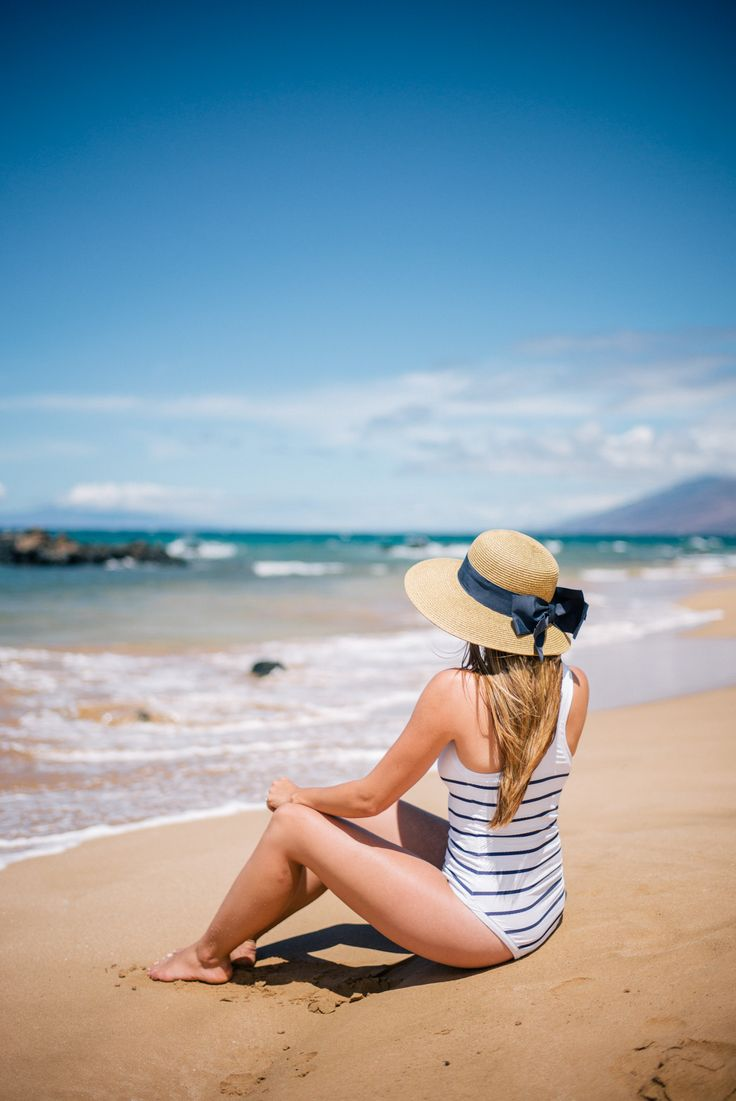 Gal Meets Glam Striped One Piece Swimsuit - Heidi Klein swimsuit & Tuckernuck hat
