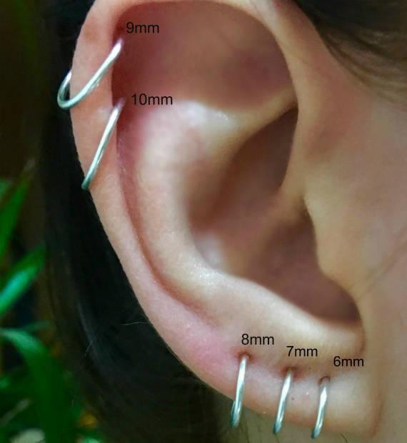 Two Cartilage Earrings 14k Gold Filled Sterling Silver Etsy Cartilage Earrings Hoop Earrings Small Tiny Hoop Earrings