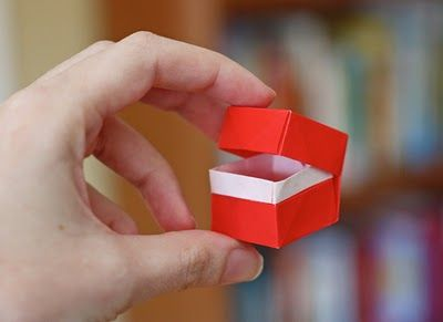 Origami box with hinged lid from one sheet of paper- good idea for my rings!