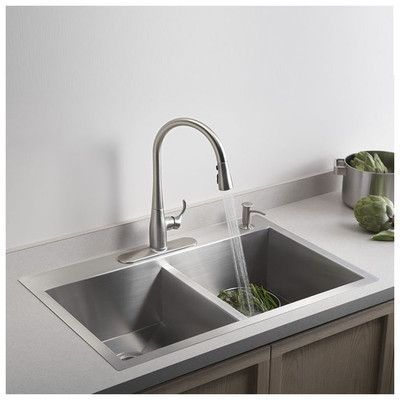 "Kohler Vault 33"" x 22"" x 9-5/16"" Top-Mount/Under-Mount Large/Medium Double-Bowl Kitchen Sink with Single Faucet Hole"