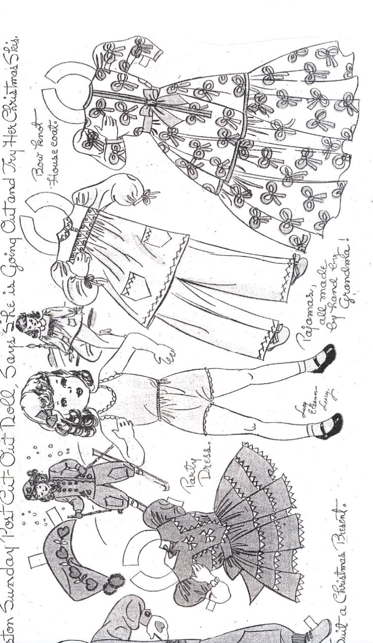 #2 of 2 GRISELDA by LUCY ELEANOR LEARY  August 6, 2011 by Marlendy  This is not a comic strip paper doll – This artist had a long run in the Boston Sunday Post newspaper of paper dolls.   This is a sweet little girl and in black and white so it can be colored.  I enjoy reading the little comments about the clothes, this one has pajamas that the little girls' Grandma made by hand for her.