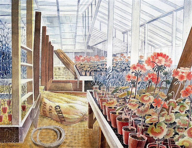 Geraniums and Carnations by Eric Ravilious 1938 (@FryArtGallery). Wittersham, Sussex.