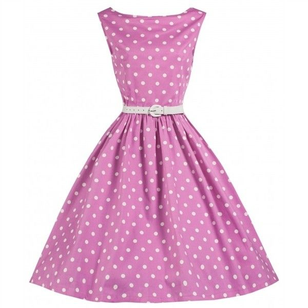 Pink Polka Dot Vintage Plus Size Pin Up Dress ❤ liked on Polyvore featuring dresses, vintage day dress, polka dot dresses, pink dress, plus size pinup dresses and vintage dresses