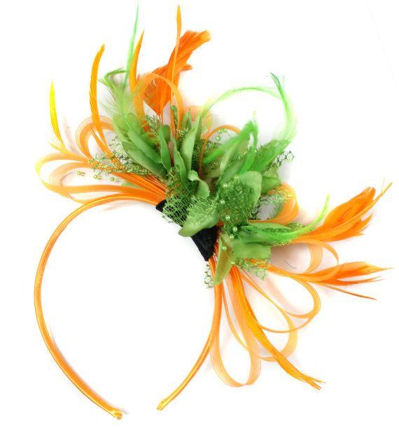 Orange & Lime Green Fascinator on Headband AliceBand by Caprilite