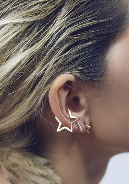 Add some quality star to your outfit by wearing this gold star ear cuff. It's styled with a star cutout made of base metal that can be worn at the lower part of your ear. | Lookbook Store