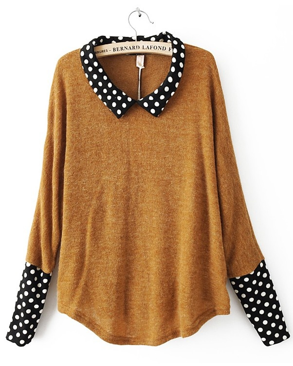 Yellow acrylic polka dot long sleeve pullover