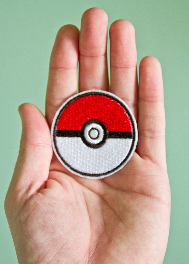 Pokeball -- Embroidered Iron-on Pokemon Patch. $5.00, via Etsy.