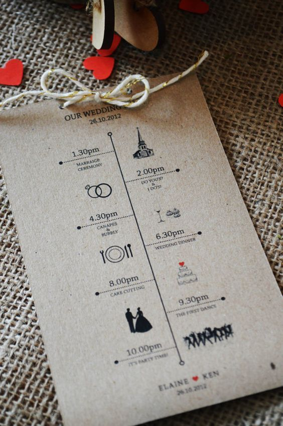 Rustic Wedding Day Schedules kraft paper & twine