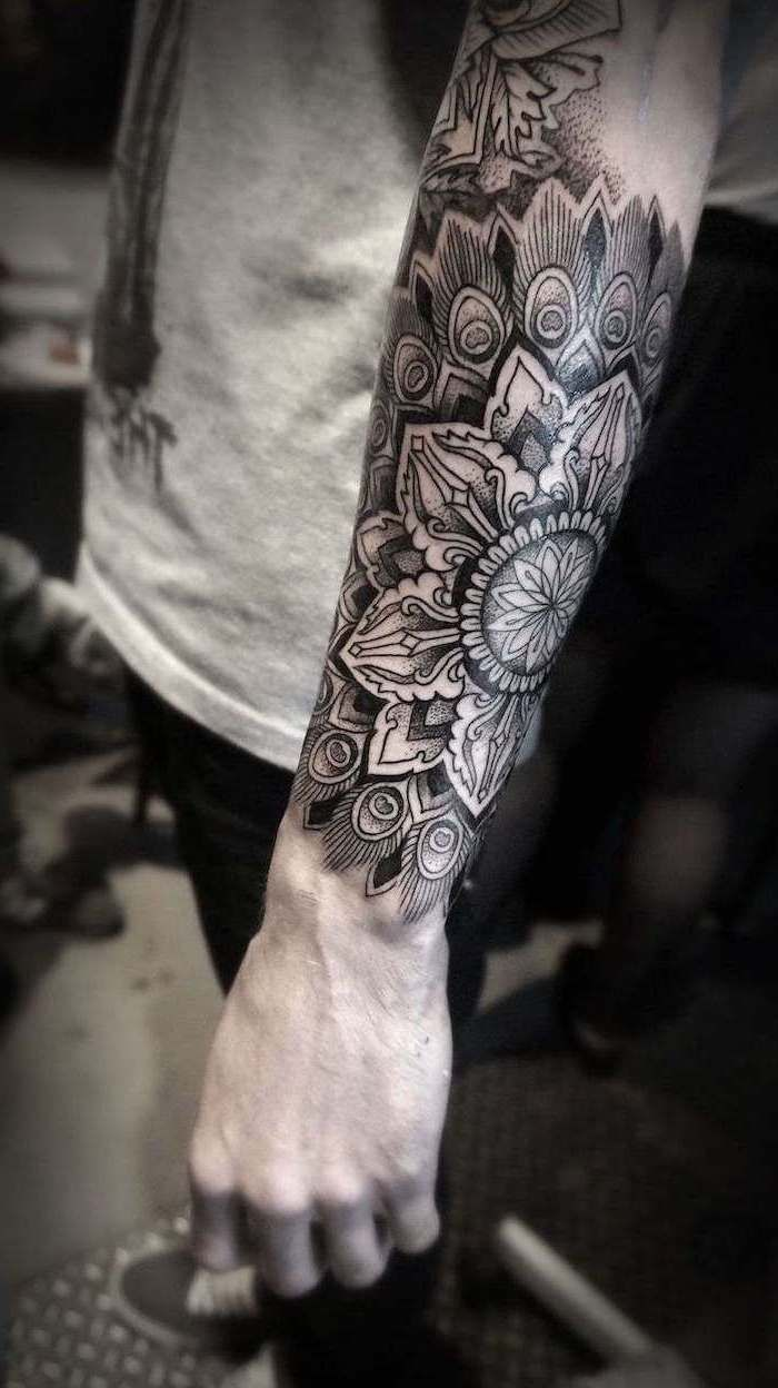 Grey Shirt Jeans Mandala Wrist Tattoo Forearm Tattoo In 2020 Mandala Tattoo Sleeve Mandala Tattoo Men Forearm Tattoo Men