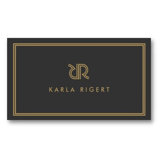 AVANT GARDE ART DECO LOGO with YOUR INITIALS GRAY Business Cards
